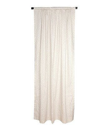 Taupe & White Greek Key Curtain Panel