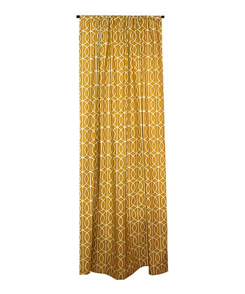Mustard Yellow & White Lattice Chain Curtain Panel