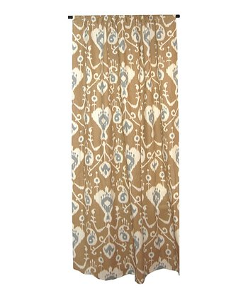 Mocha Brown & Gray Ikat Curtain Panel