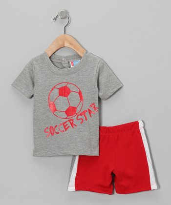 Gray 'Soccer Star' Tee & Shorts