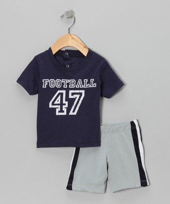 Navy 'Football' Tee & Shorts