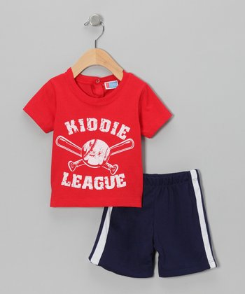 Red 'Kiddie League' Baseball Tee & Shorts