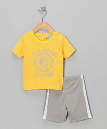 Yellow 'Star Player' Tee & Shorts