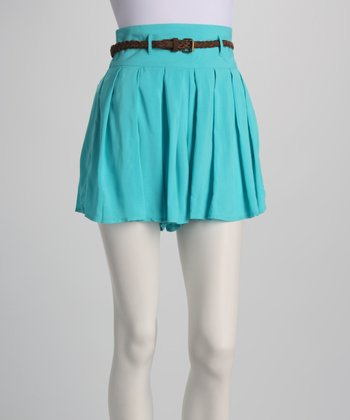 Light Teal Belted Shorts