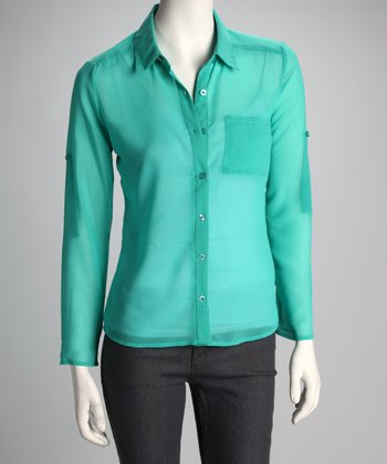 Jade Sheer Button-Up