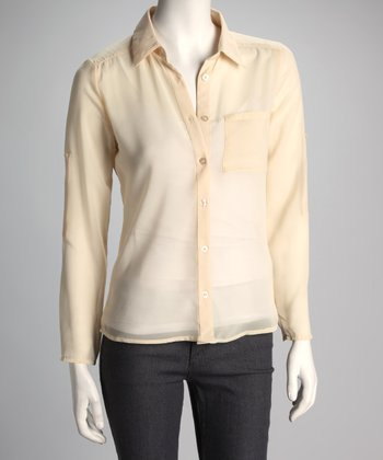 Sand Sheer Button-Up