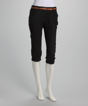 Black Thin Belted Capri Pants