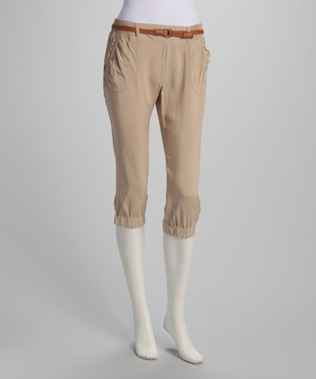 Light Khaki Thin Belted Capri Pants