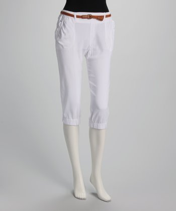 White Thin Belted Capri Pants
