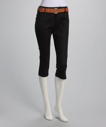 Black Belted Capri Pants