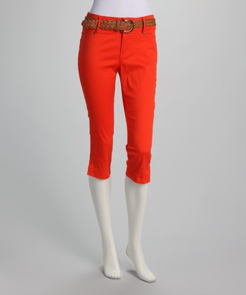 Orange Belted Capri Pants