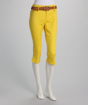 Yellow Belted Capri Pants