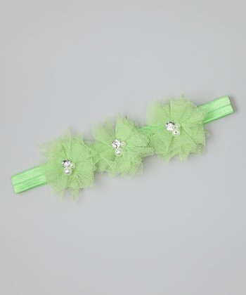 Green Rhinestone Flower Headband