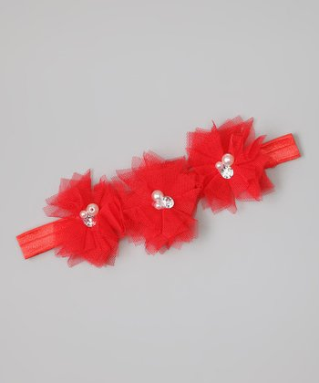 Red Rhinestone Flower Headband