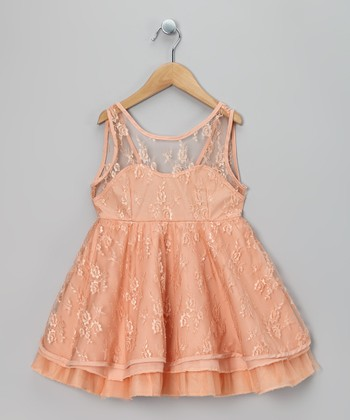Apricot Lace Ruffle Dress - Toddler & Girls