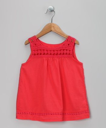 Red Crocheted Tunic - Toddler & Girls