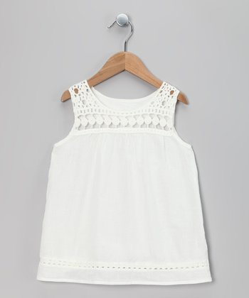White Crocheted Tunic - Toddler & Girls