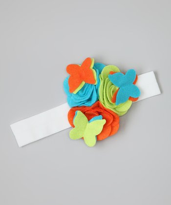 Blue & Orange Butterfly Flower Headband