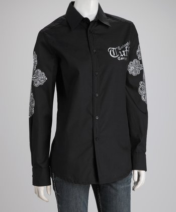 Black Long-Sleeve Button-Up