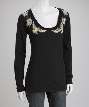 Black Rejoice Long-Sleeve Top