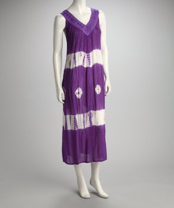 Purple Tie-Dye Embroidered Maxi Dress
