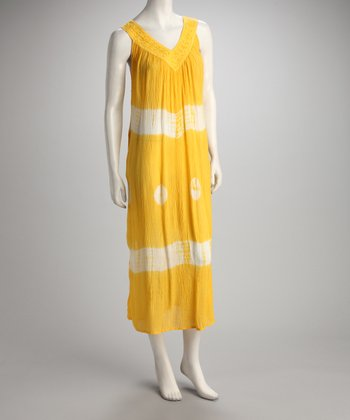 Yellow Tie-Dye Sun Embroidered Maxi Dress