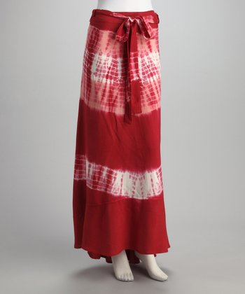 Burgundy Tie-Dye Wrap Skirt