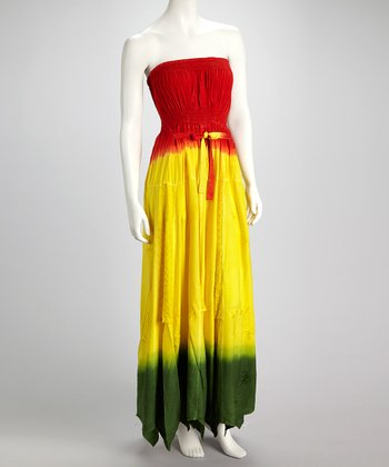 Yellow & Red Color Block Strapless Maxi Dress