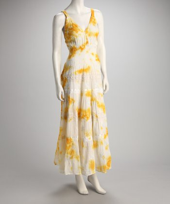 Yellow & White Tie-Dye Maxi Dress