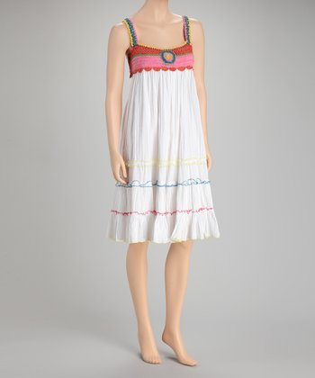 White & Pink Pleated Dress