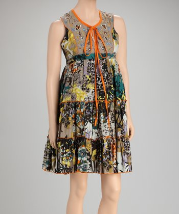 Gray & Orange Floral Dress