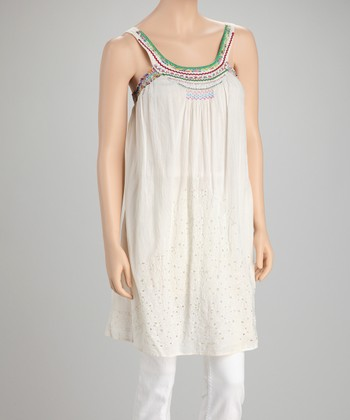 Natural Eyelet Yoke Tunic