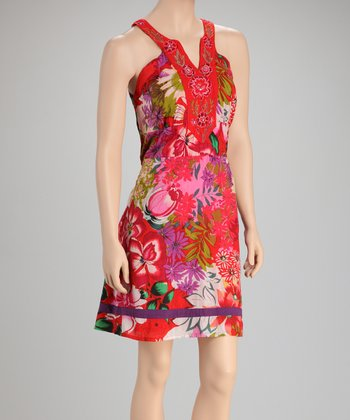 Red Floral Tie-Waist Dress
