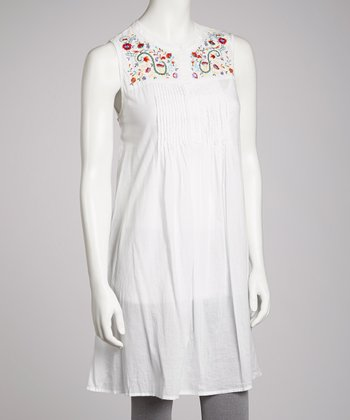 White Embroidered Pleated Tunic