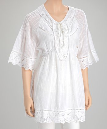 White Stripe Eyelet Tunic