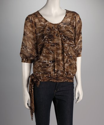 Brown Abstract Side-Tie Top