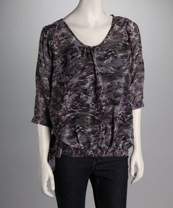 Grape & Pink Abstract Side-Tie Top