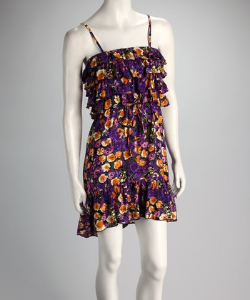 Purple Floral Ruffle Dress