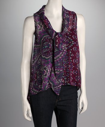 Purple Paisley Sleeveless Top