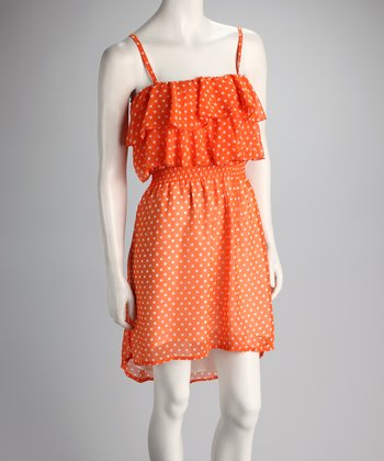 Orange Polka Dot Hi-Low Dress