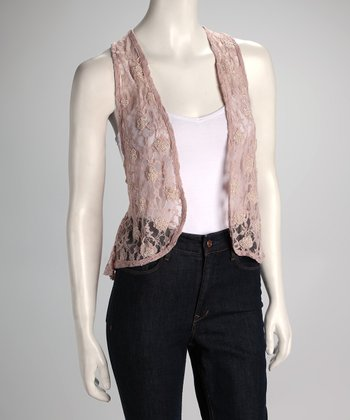 Dusty Rose Lace Vest