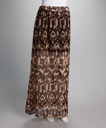 Brown & Cream Abstract Maxi Skirt