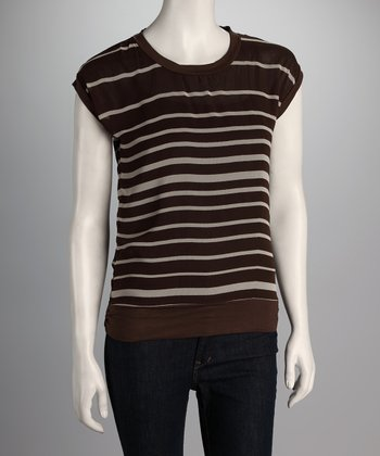 Brown & White Stripe Top