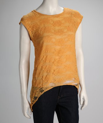 Mustard Lace-Front Hi-Low Top