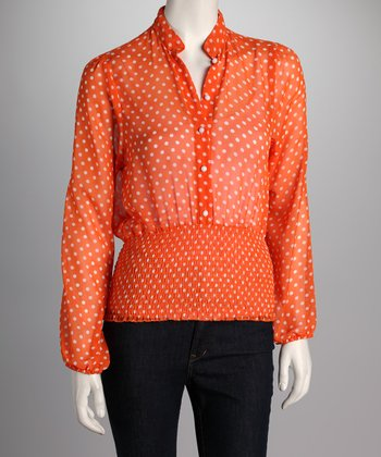 Orange Polka Dot Smocked Top