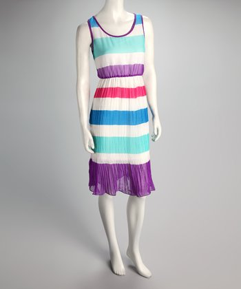 Purple Stripe Pleated Dress