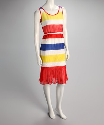 Red Stripe Pleated Dress