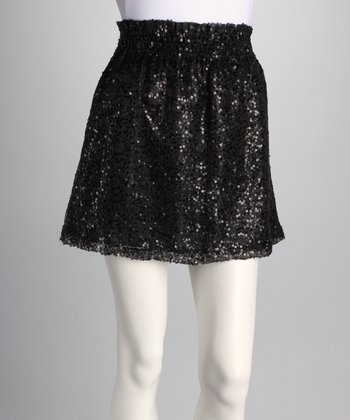 Black Sequin Pocket Skirt