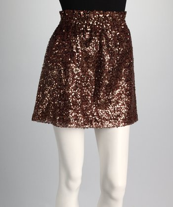 Gold Sequin Pocket Skirt