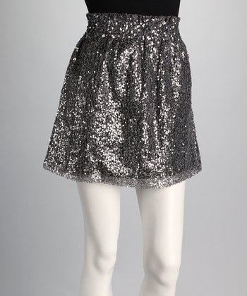 Silver Sequin Pocket Skirt